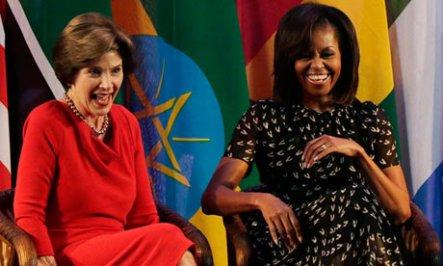 First ladies Michelle Obama Laura Bush Africa